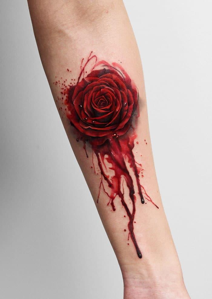 Mẫu xăm hoa hồng nhỏ chất ngầu không đụng hàng