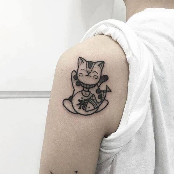 Mẫu xăm mèo thần tài mini cute dễ thương