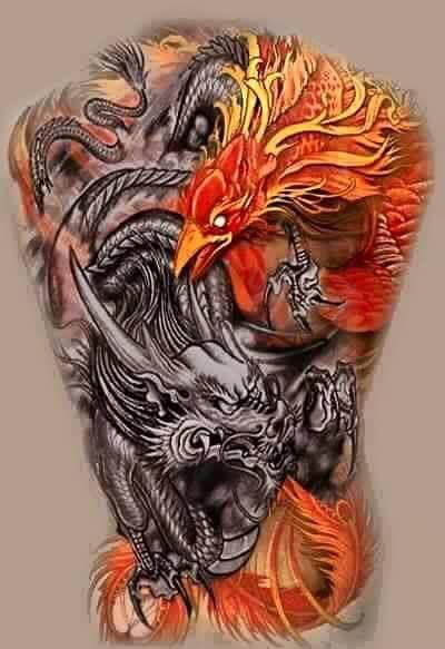 Mẫu xăm rồng phượng kín lưng đẹp tuyệt vời