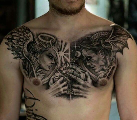 Mẫu xăm thiên thần và ác quỷ thu hút