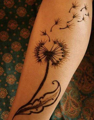 Mê mẩn vẻ đẹp hoa bồ công anh xăm ở tay