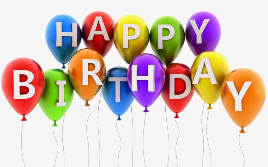 Mừng sinh nhật với hình ảnh đơn giản cùng những quả bóng