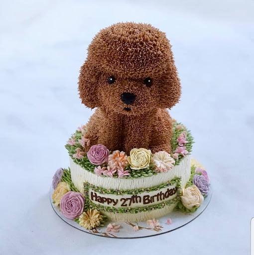 Tạo hình cho poodle trong bánh sinh nhật