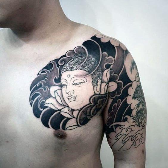 Tattoo Hình Phật Tổ Ở Vai Nam Ngầu