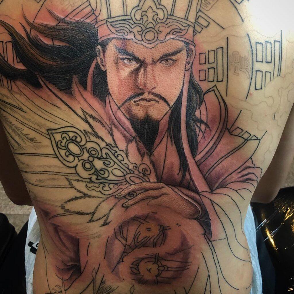 Tattoo Khổng Minh Gia Cát Lượng full bít lưng