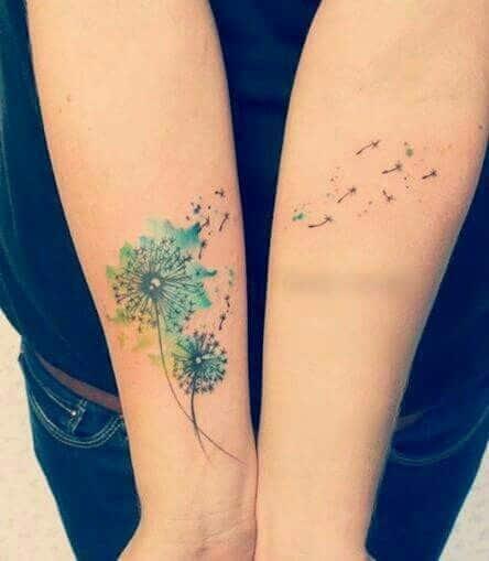Tattoo bồ công anh có màu đẹp