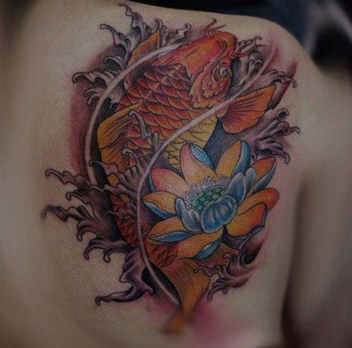 Tattoo cá chép hoa sen 3d khiến ai cũng phải chú ý