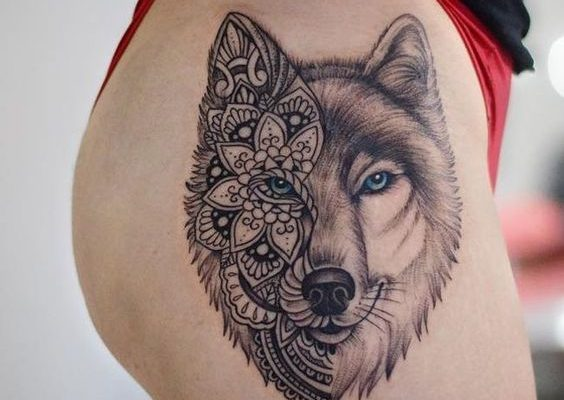 Tattoo chó sói cực đẹp cho nữ