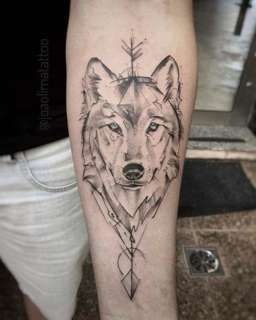 Tattoo chú chó sói cô độc