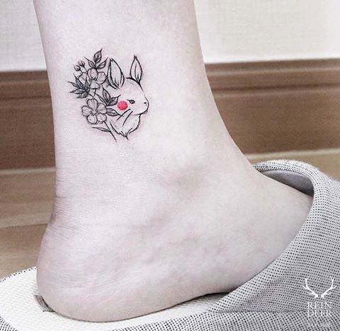 Tattoo con thỏ siêu đáng yêu cute