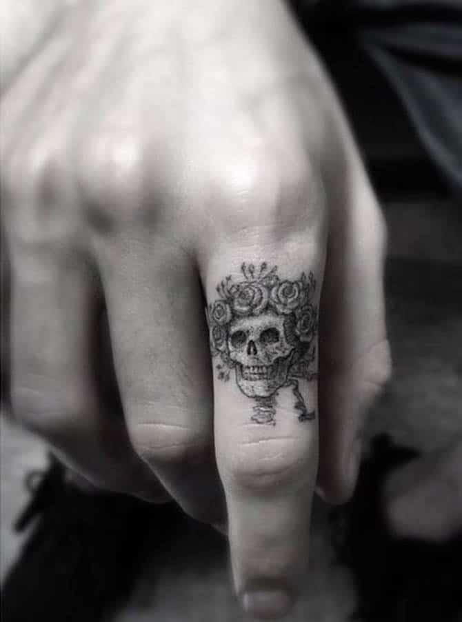 Tattoo đầu lâu mini siêu chất