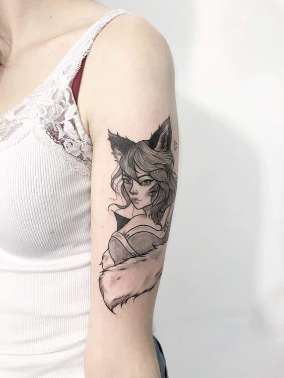 Tattoo hồ ly ấn tượng cho phái nữ