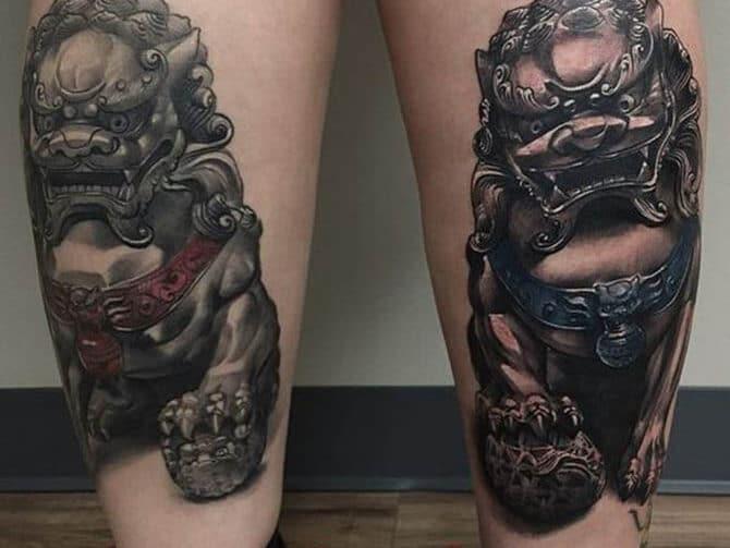 Tattoo kỳ lân bắp chân ấn tượng