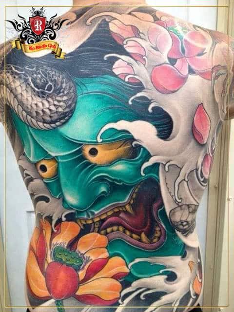 Tattoo mặt quỷ kín lưng chất nhất