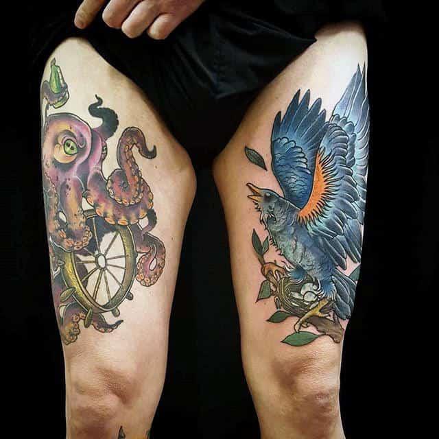 Tattoo ở đùi cực chất ngầu cho nam giới