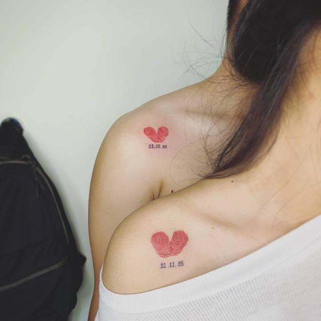 Tattoo xăm cặp trái tim đẹp lãng mạn