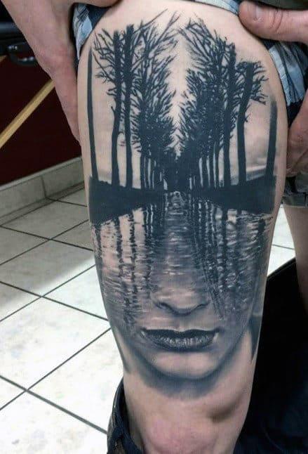 Tattoo xăm chất nhất ở đùi nam