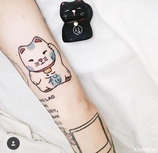 Tattoo xăm mèo thần tài mini