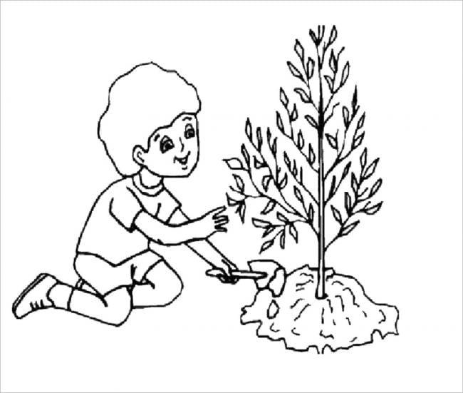 Tranh tô màu bé trồng cây