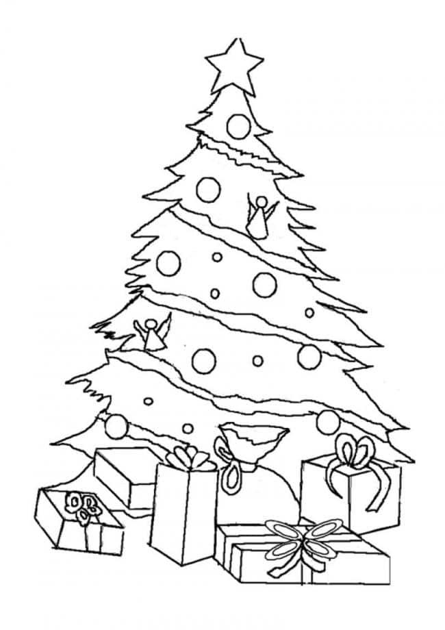 Tranh tô màu cây thông Noel đẹp