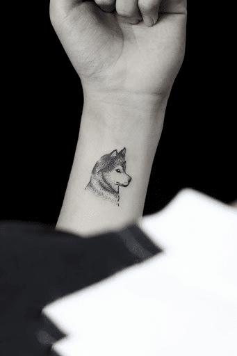 Xăm hình sói mini dễ thương