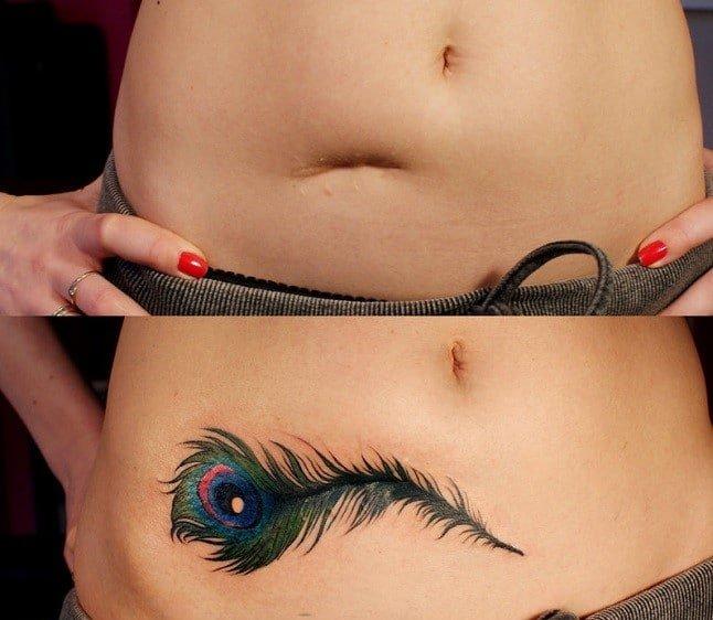 ảnh tattoo bông hoa che sẹo đẹp ở bụng