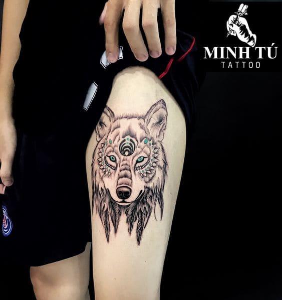 ảnh tattoo chó sói hoa văn đẹp