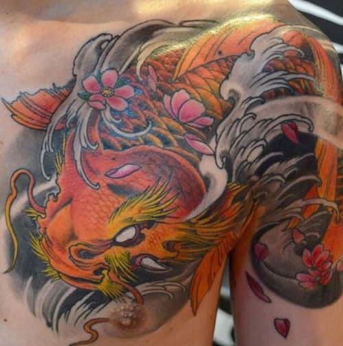 ảnh tattoo đầu rồng đuôi cá chép đẹp nhất