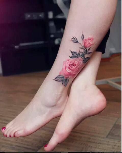ảnh tattoo hình hoa hồng ở bắp chân đẹp