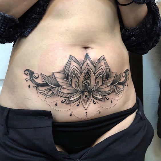 ảnh tattoo hình hoa văn che sẹo cho con gái