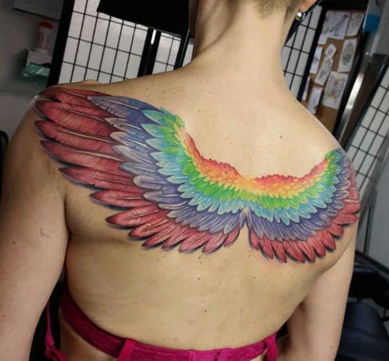 ảnh xăm đôi cánh đẹp nhiều màu sắc