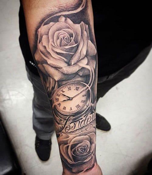 ảnh xăm hoa hồng và đồng hồ ngất ngây