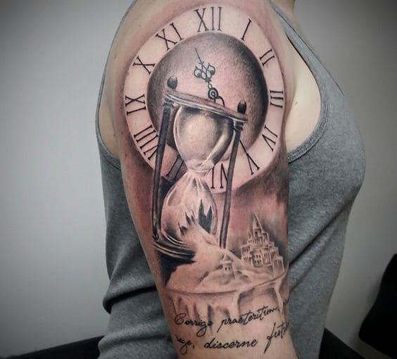 ảnh xăm tattoo đồng hồ cát cho nữ