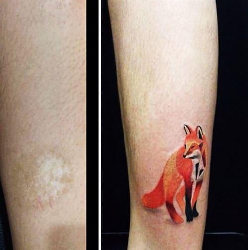 che sẹo ở chân bằng tattoo hình con cáo