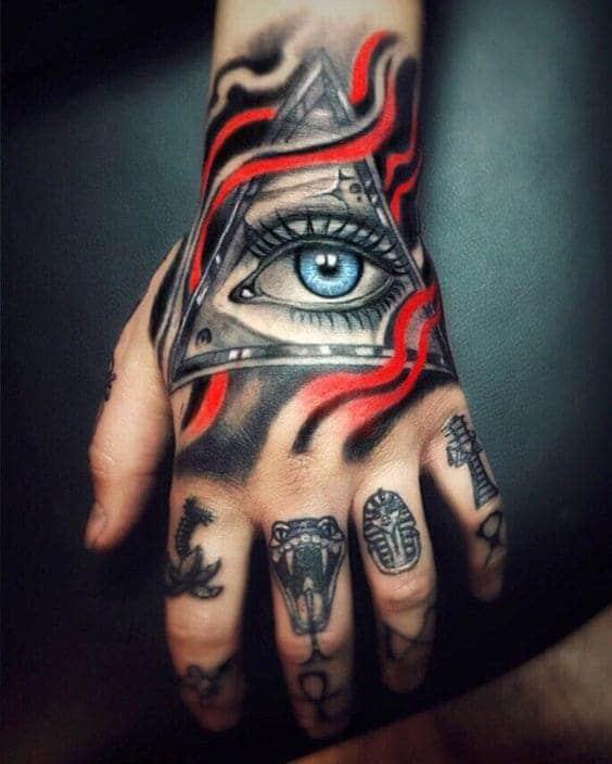 hình ảnh con mắt ngầu trên mu bàn tay