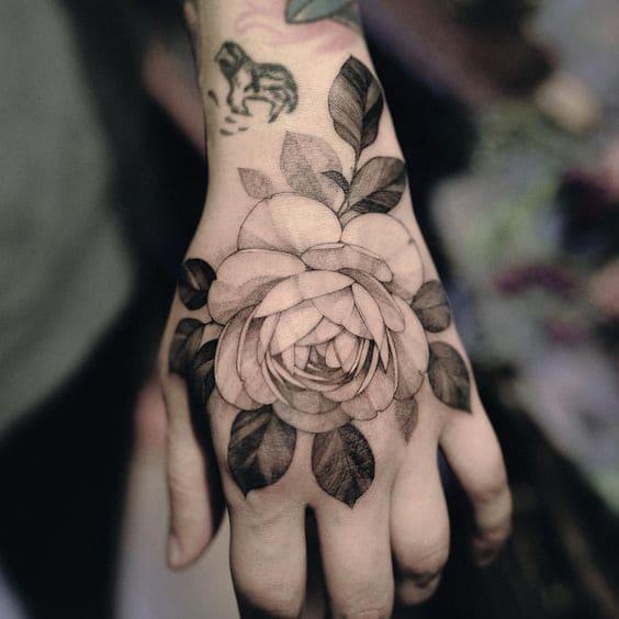 hình ảnh hoa hồng đơn giản trên tay nữ