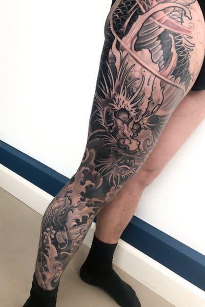 hình ảnh rồng nước tattoo kín chân