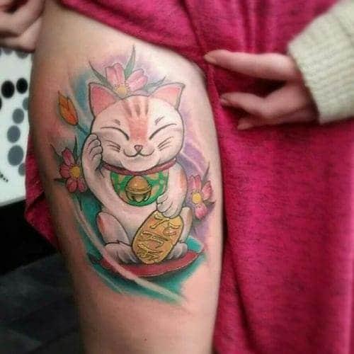 hình ảnh tattoo mèo thần tài ở bắp chân đẹp