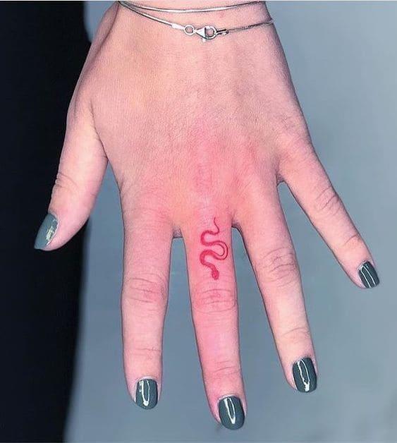 hình rắn màu đỏ ở ngón tay cực chất