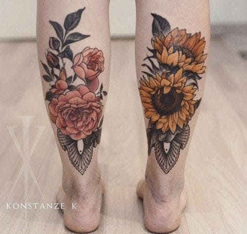 hình tattoo bông hoa tuyệt đẹp ở chân