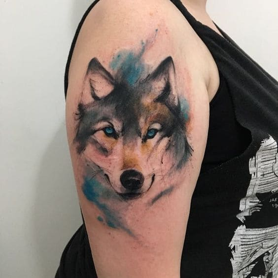 hình tattoo chó sói đẹp có màu cho nữ