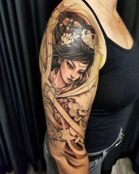hình tattoo cô gái trung hoa trên tay nữ