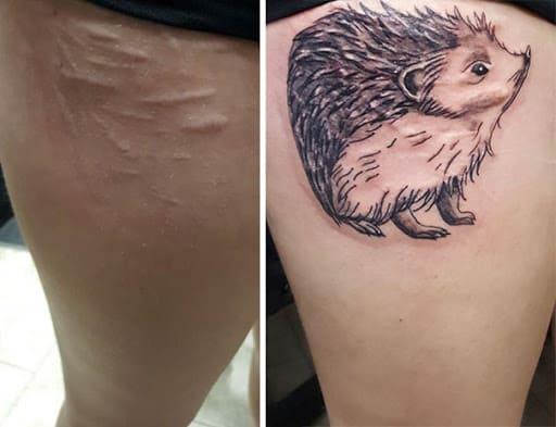 hình tattoo con nhím che sẹo ở đùi