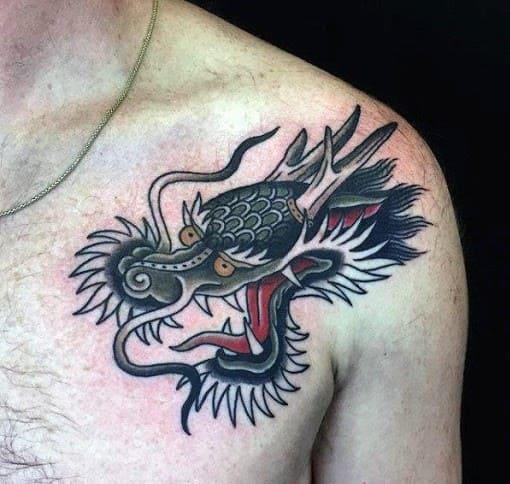 hình tattoo đầu rồng tuyệt đẹp cho nam
