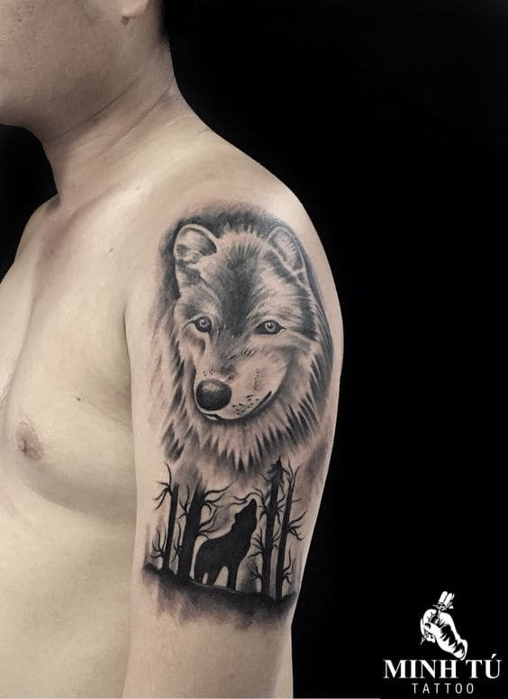 hình tattoo đẹp hình con chó