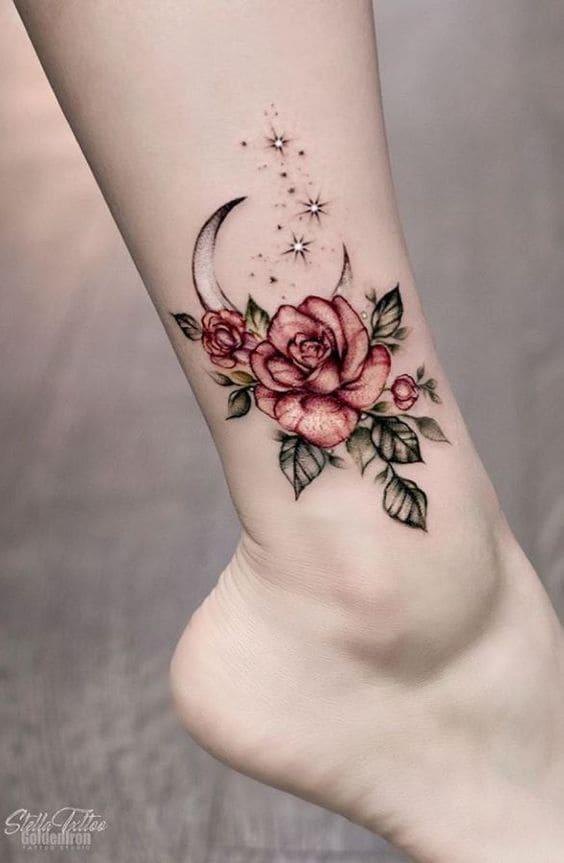 hình tattoo mặt trăng và hoa hồng cute