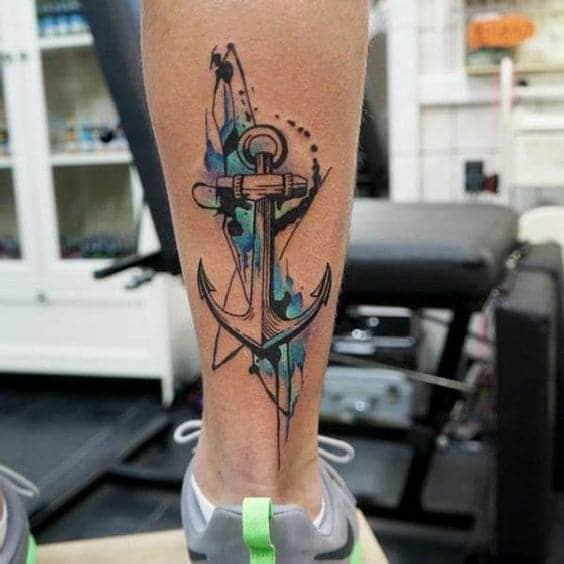 hình tattoo mỏ neo ở chân nam