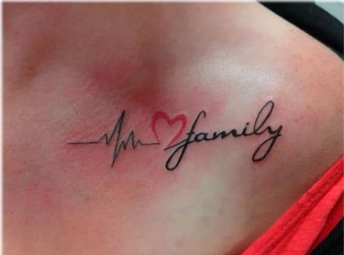 hình tattoo nhịp tim chữ family đẹp