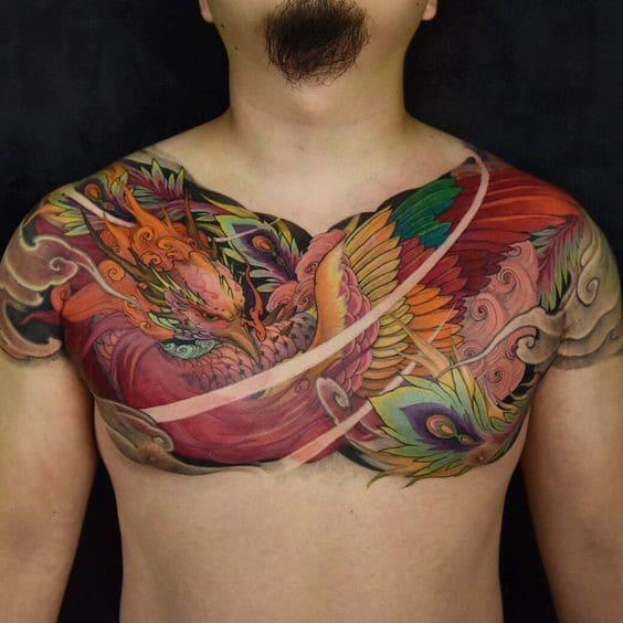 hình tattoo tứ linh phượng hoàng