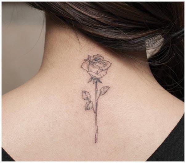 hình xăm bông hoa hồng nhỏ đẹp sau gáy